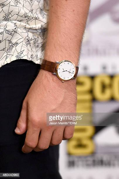 Actor Miles Teller watch detail attends the 20th Century Fox press room during ComicCon International 2015 at the Hilton Bayfront on July 11 2015 in...