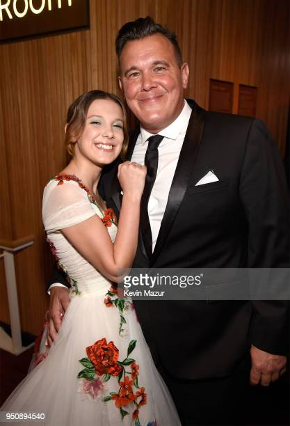 Actor Millie Bobby Brown and Robert Brown attend the 2018 Time 100 Gala at Jazz at Lincoln Center on April 24 2018 in New York CityÊ