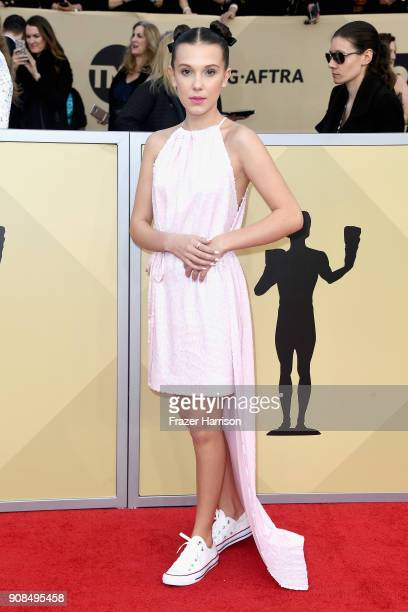 Actor Millie Bobby Brown attends the 24th Annual Screen Actors Guild Awards at The Shrine Auditorium on January 21 2018 in Los Angeles California