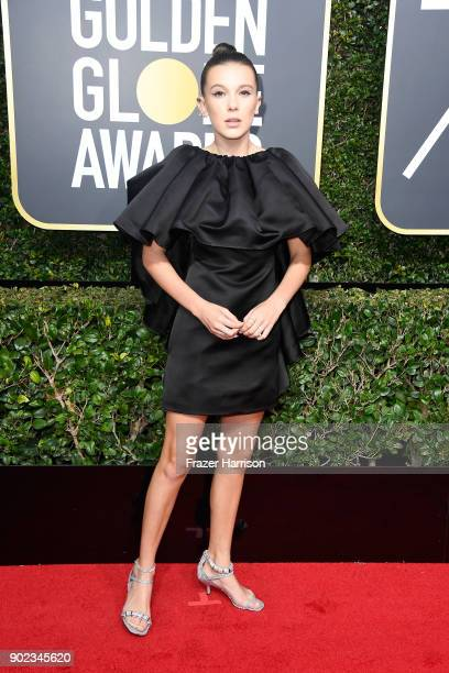 Actor Millie Bobby Brown attends The 75th Annual Golden Globe Awards at The Beverly Hilton Hotel on January 7 2018 in Beverly Hills California