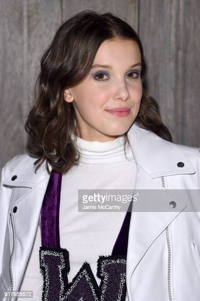 Actor Millie Bobby Brown attends the Calvin Klein Collection during New York Fashion Week at New York Stock Exchange on February 13 2018 in New York...