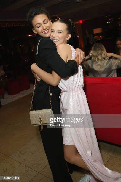 Actor Millie Bobby Brown hugs Michelle Keegan as she attends Netflix Hosts The SAG After Party At The Sunset Tower Hotel on January 21 2018 in West...
