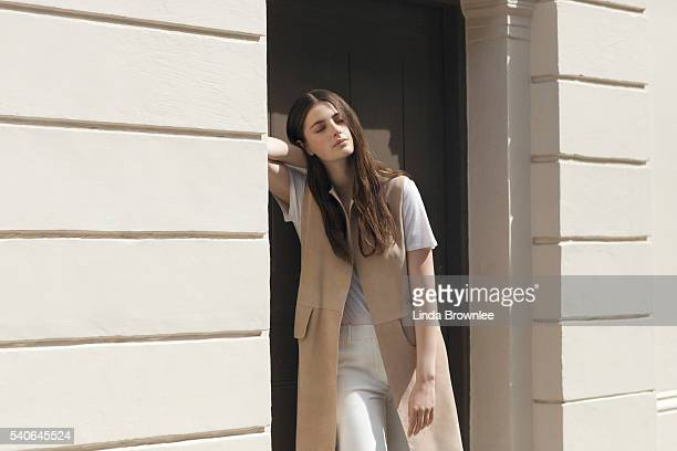 Actor Millie Brady is photographed for Farfetch on May 27 2015 in London England