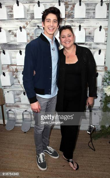 Actor Milo Manheim and mother actress Camryn Manheim visit Hallmark's Home Family at Universal Studios Hollywood on February 15 2018 in Universal...