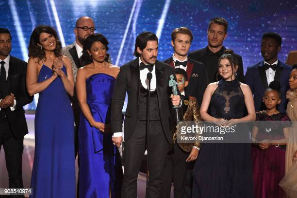 Actor Milo Ventimiglia and the cast of 'This Is Us' onstage during the 24th Annual Screen Actors Guild Awards at The Shrine Auditorium on January 21...