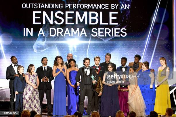 Actor Milo Ventimiglia and 'This Is Us' castmates accept the Outstanding Performance by an Ensemble in a Drama Series award onstage during the 24th...