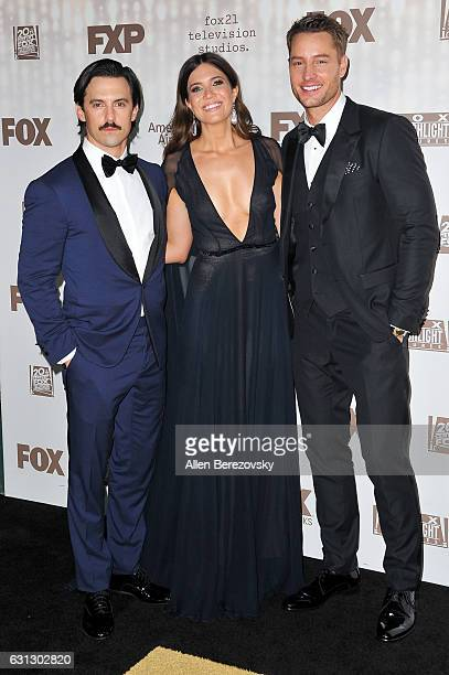 Actor Milo Ventimiglia singer Mandy Moore and actor Justin Hartley attend FOX and FX's 2017 Golden Globe Awards After Party at The Beverly Hilton...
