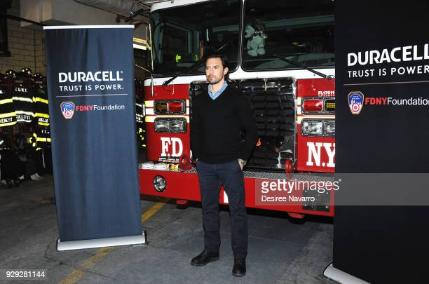 Actor Milo Ventimiglia teams up with Duracell and the FDNY for Fire Safety at FDNY165 51st Street on March 8 2018 in New York City