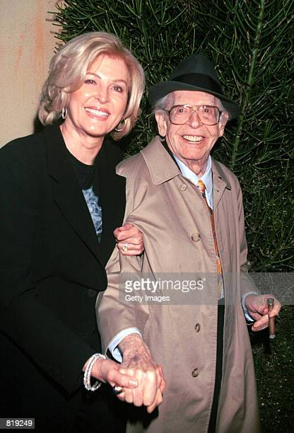 Actor Milton Berle and his wife Lorna attend the Spago closing party hosted by celebrity chef Wolfgang Puck and his wife Barbara Lazaroff March 28...