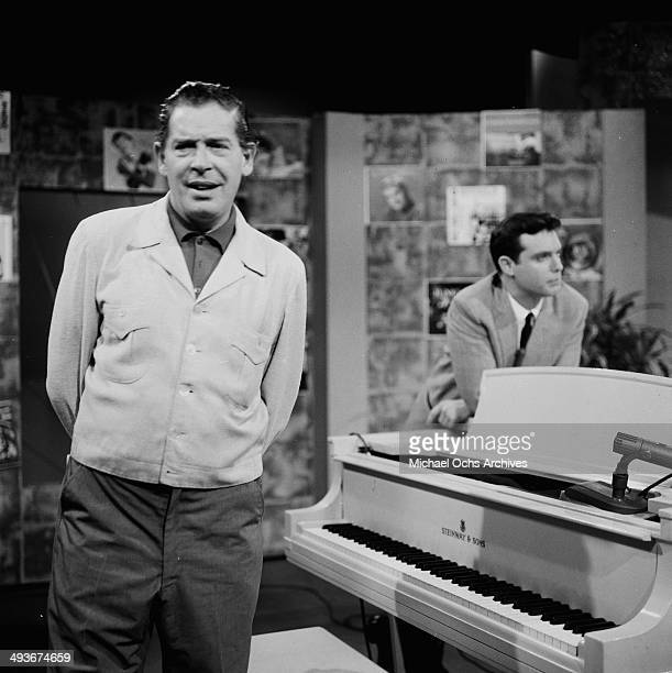 Actor Milton Berle on set of the Milton Berle show in Los Angeles, California.
