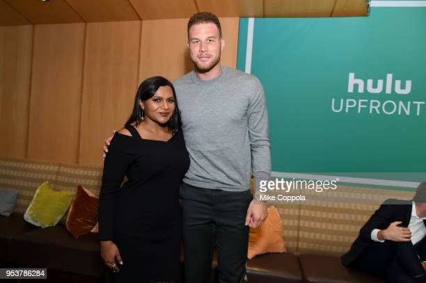 Actor Mindy Kaling and basketball player Blake Griffin pose for a photo in the Hulu Upfront 2018 Green Room at The Hulu Theater at Madison Square...
