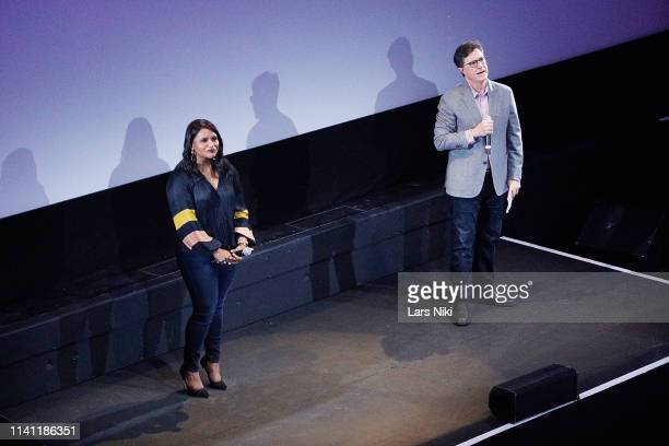 Actor Mindy Kaling and comedian Stephen Colbert on stage during the 2019 Montclair Film Festival at the Wellmont Theater on May 4 2019 in Montclair...