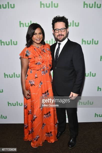 Actor Mindy Kaling of The Mindy Project and Producer JJ Abrams of Castle Rock attend the Hulu Upfront at Madison Square Garden on May 3 2017 in New...