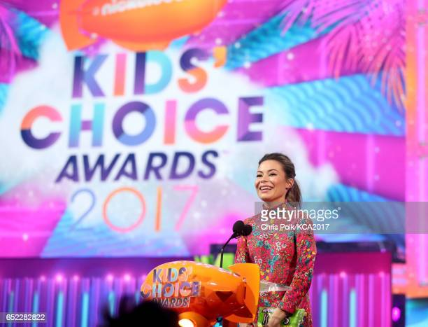 Actor Miranda Cosgrove speaks onstage at Nickelodeon's 2017 Kids' Choice Awards at USC Galen Center on March 11 2017 in Los Angeles California