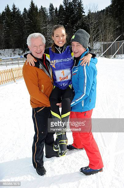Actor Miroslav Nemec Alena Gerber and Heio von Stetten attend the photocall for the tv show Star Biathlon 2014 on January 30 2014 in...