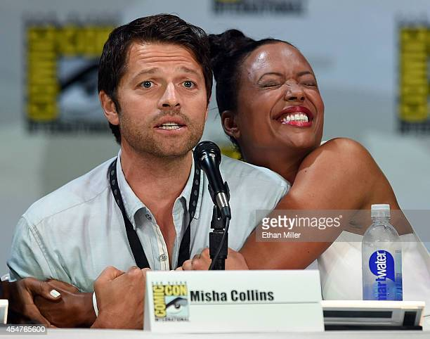Actor Misha Collins and actress Aisha Tyler attend the TV Guide Magazine Fan Favorites panel during ComicCon International 2014 at the San Diego...