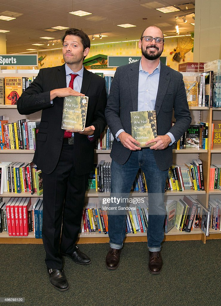 Actor Misha Collins (L) and author Matthew Thomas attend the Matthew Thomas and Misha Collins book signing for 'We Are Not Ourselves' at Barnes & Noble bookstore at The Grove on September 28, 2014 in Los Angeles, California.