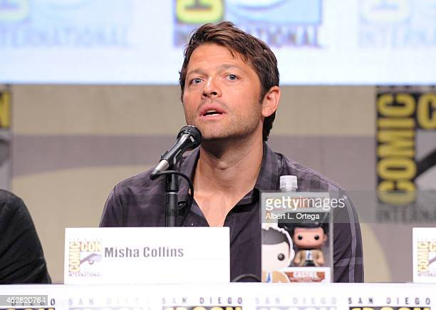 Actor Misha Collins attends CW's 'Supernatural' Panel during ComicCon International 2014 at San Diego Convention Center on July 27 2014 in San Diego...