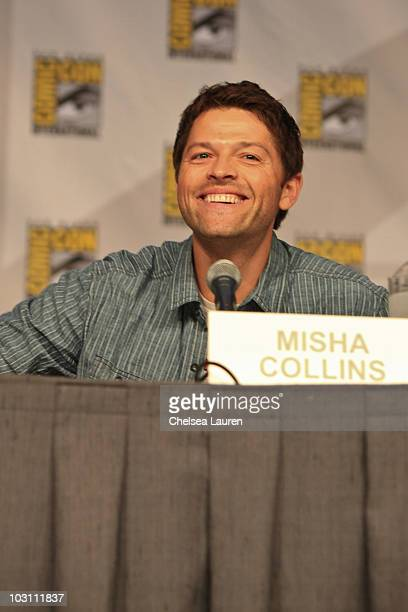 Actor Misha Collins attends the 'Supernatural' panel on day 4 of ComicCon International at San Diego Convention Center on July 25 2010 in San Diego...