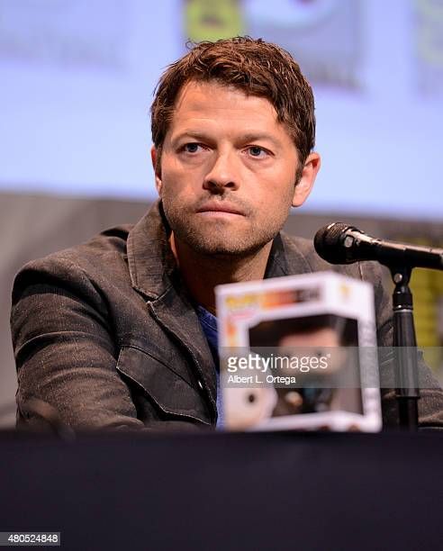 Actor Misha Collins speaks onstage at the 'Supernatural' panel during ComicCon International 2015 at the San Diego Convention Center on July 12 2015...