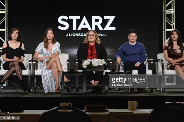 Actor Mishel Prada actor MElissa Barrera showrunner/executive producer Tanya Saracho actor Ser Anzoategui and actor Chelsea Rendon at the STARZ...