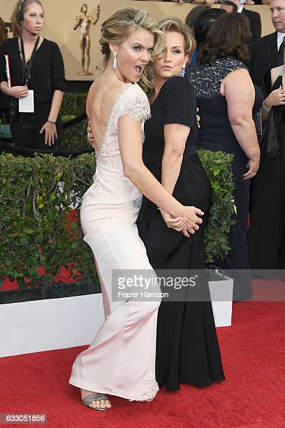 Actor Missi Pyle and SAGAFTRA President Gabrielle Carteris attend The 23rd Annual Screen Actors Guild Awards at The Shrine Auditorium on January 29...