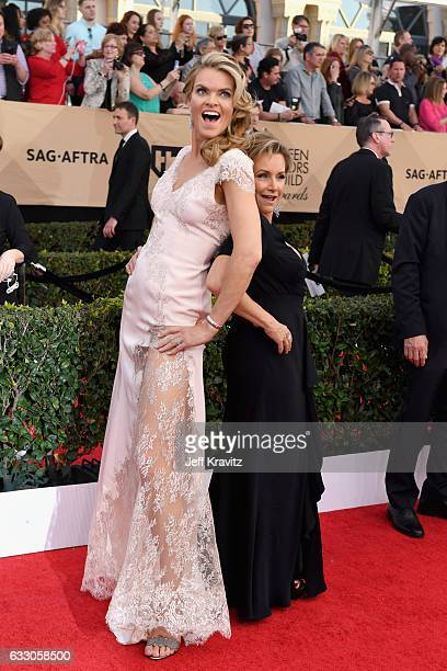 Actor Missi Pyle and SAGAFTRA President Gabrielle Carteris attend the 23rd Annual Screen Actors Guild Awards at The Shrine Expo Hall on January 29...