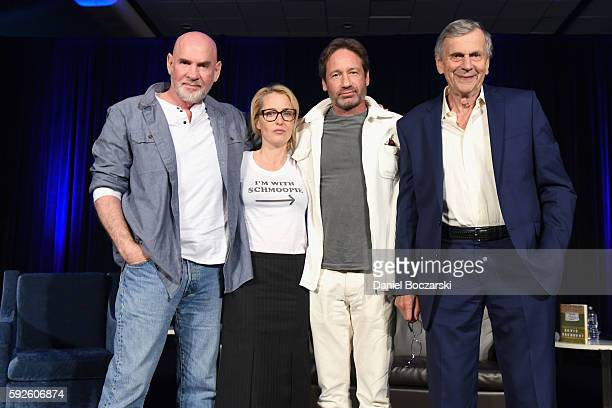 Actor Mitch Pileggi Actress Gillian Anderson Actor David Duchovny and Actor William B Davis onstage during Wizard World Comic Con Chicago 2016 Day 3...