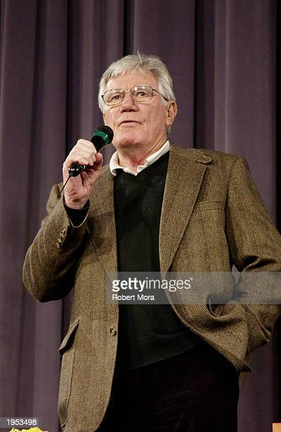 Actor Mitchell Ryan addresses children during the Screen Actors Guild's 'Conversations For Kids' at the Pacific Design Center April 26 2003 in Los...