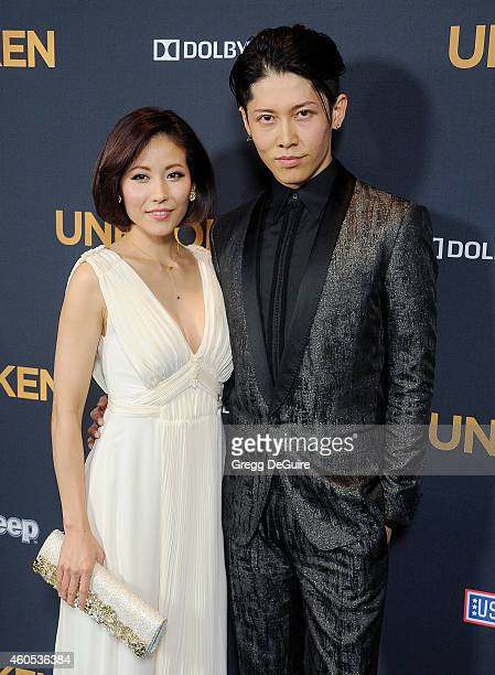 "Actor Miyavi and Melody Ishihara arrive at the Los Angeles premiere of ""Unbroken"" at The Dolby Theatre on December 15, 2014 in Hollywood, California."