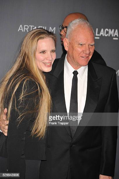 Actor Mlcolm McDowell and guest Kelley Kuhr arrive at LACMA 2012 Art Film Gala held at LACMA