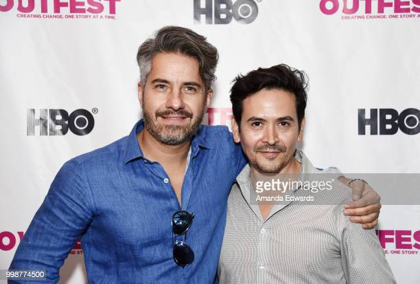 Actor Moises Arizmendi and director Alejandro Andrade arrive at the 2018 Outfest Los Angeles premiere of 'Cuernavaca' at the DGA Theater on July 14...
