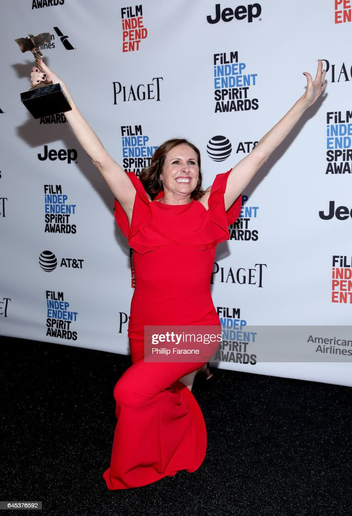 Actor Molly Shannon, winner of the Best Supporting Female award for 'Other People,' poses in the press room during the 2017 Film Independent Spirit Awards at the Santa Monica Pier on February 25, 2017 in Santa Monica, California.