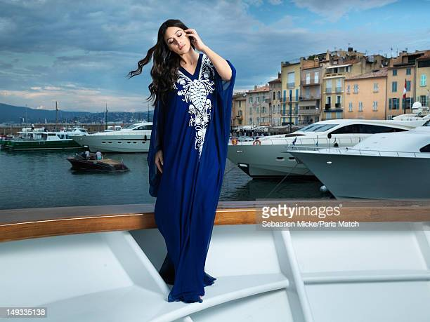 Actor Monica Belluci is photographed during the shooting of the movie Des Gens Qui S'embrassent for Paris Match on May 25 2012 in SaintTropez France