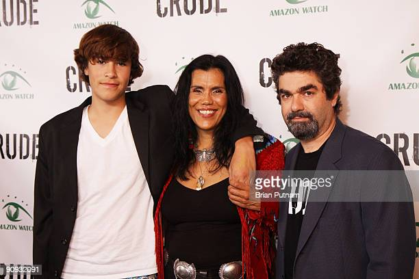 Actor Montana Rain activist Joannelle Romero and director Joe Berlinger arrives for the screening of the film 'CRUDE' at Harmony Gold Theatre on...