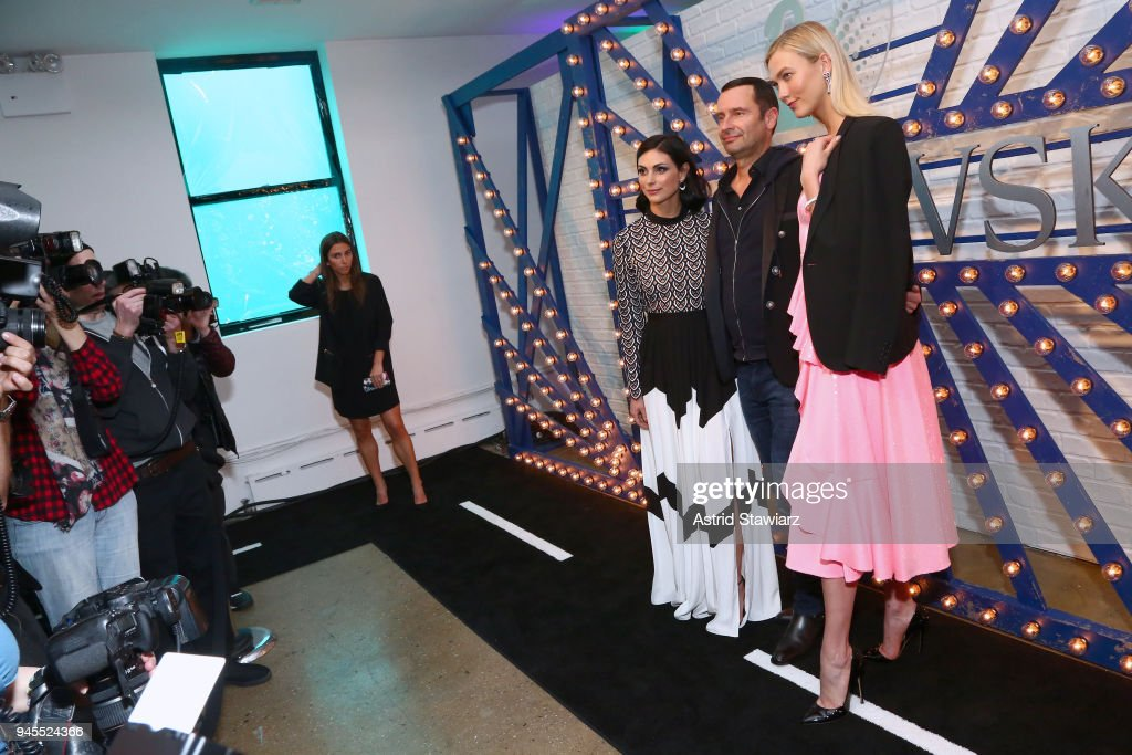 Actor Morena Baccarin, Robert Buchbauer, and Karlie Kloss attend Swarovskis Times Square Celebration at Hudson Mercantile, honoring the brands most recent store opening in New York City, on April 12, 2018.