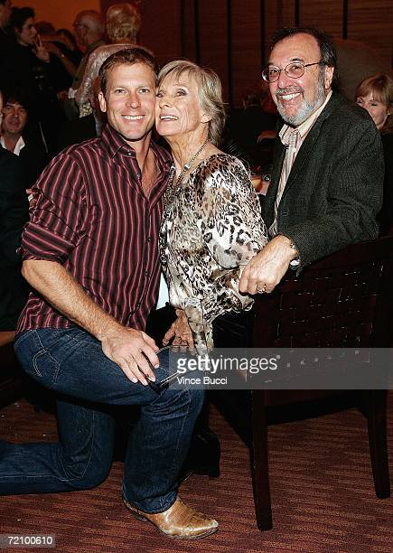 Actor Morgan Englund Actress Cloris Leachman and Producer/Writer James L Brooks pose at the celebration for Cloris Leachman's 60 years in show...