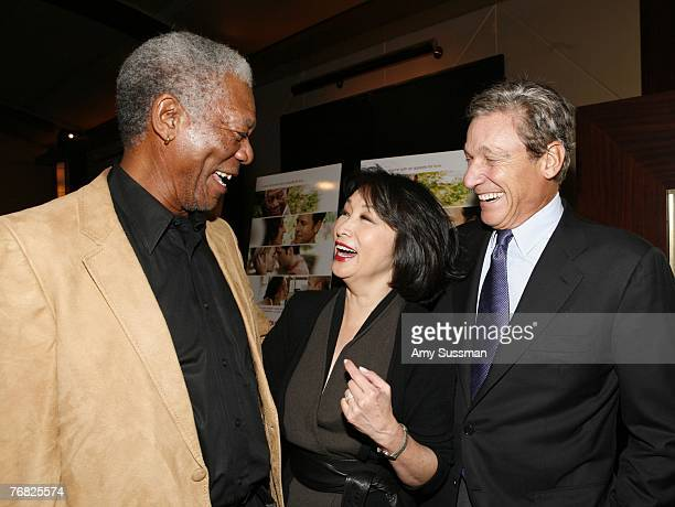 Actor Morgan Freeman anchorwoman Connie Chung and Maury Povich attend the New York special screening of Feast of Love at Dolby 88 Screening Room...