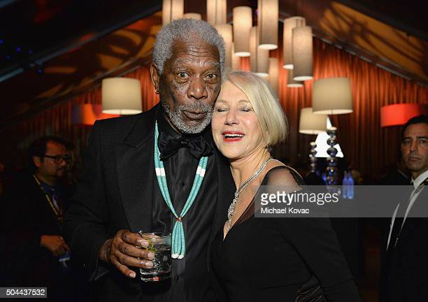 Actor Morgan Freeman and actress Helen Mirren attend The Weinstein Company's 2016 Golden Globe Awards After Party at The Beverly Hilton Hotel on...