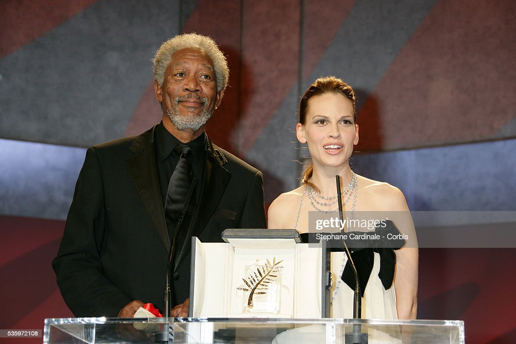 Actor Morgan Freeman and actress Hilary Swank at the closing ceremony of the 58th Cannes Film Festival.