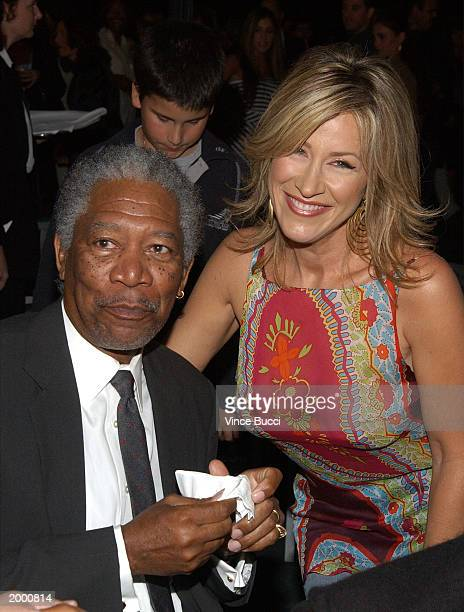 Actor Morgan Freeman and actress Lisa Ann Walter attend an afterparty for the premiere of Bruce Almighty at Universal Studios on May 14 2003 in...