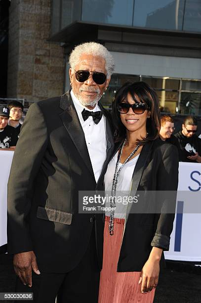 Actor Morgan Freeman and daughter Morgana arrive at the premiere of Oblivion held at the Chinese Theater in Hollywood