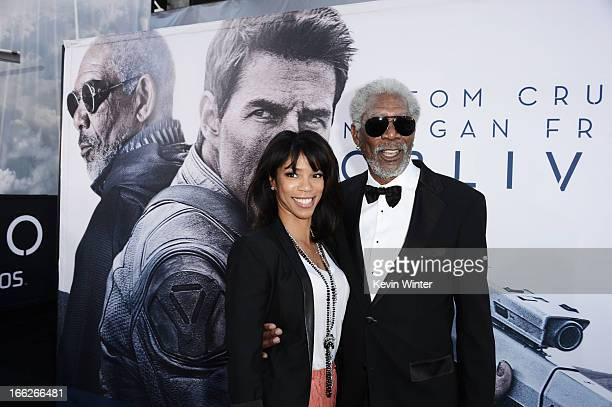 Actor Morgan Freeman and daughter Morgana Freeman arrive at the premiere of Universal Pictures' Oblivion at Dolby Theatre on April 10 2013 in...