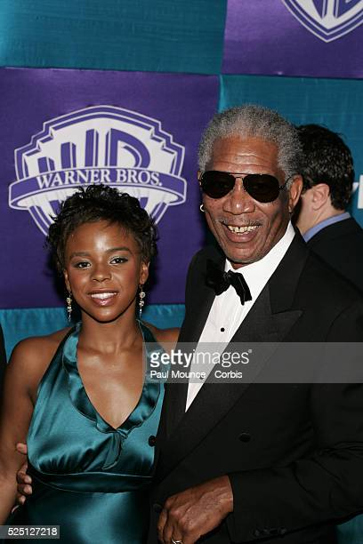 Actor Morgan Freeman and grandaughter Deena arrives at the In Style Magazine and Warner Bros Studios 2005 Golden Globe after party held at the Palm...