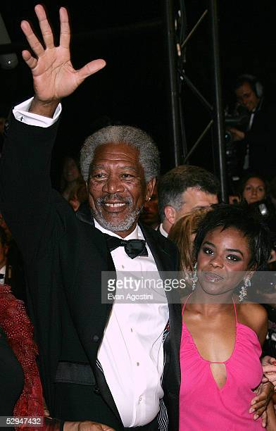"Actor Morgan Freeman and his daughter Deena Freeman attend the screening of ""Sin City"" at the Grand Theatre during the 58th International Cannes Film..."
