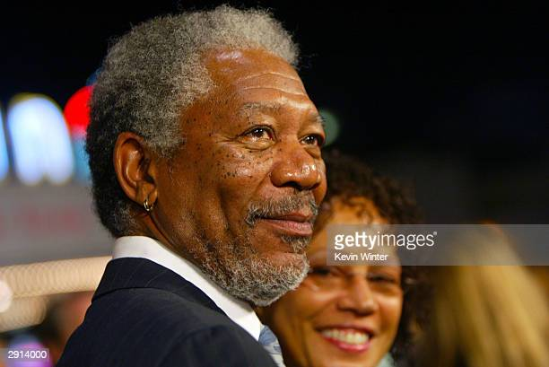 """Actor Morgan Freeman and his wife Myrna Colley-Lee arrive at the Los Angeles premiere of Warner Bros. """"The Big Bounce"""" at the Mann's Village on..."""