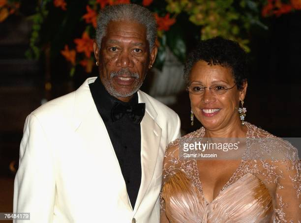 Actor Morgan Freeman and his wife, Myrna Colley-Lee arrive at the 'Unite For A Better World Gala Dinner' on September 2, 2007 at the Hotel de Paris...