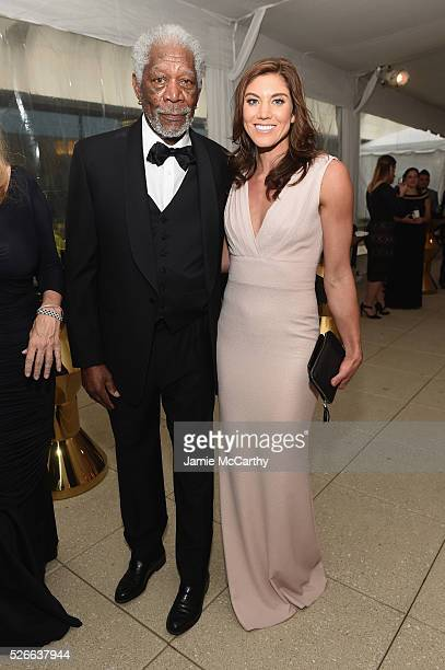 Actor Morgan Freeman and Hope Solo attend the tlantic Media's 2016 White House Correspondents' Association PreDinner Reception at Washington Hilton...