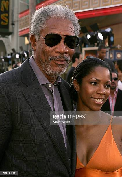Actor Morgan Freeman and Morgana Freeman arrive at the premiere of Batman Begins at the Graumans Chinese Theater on June 6 2005 in Hollywood...