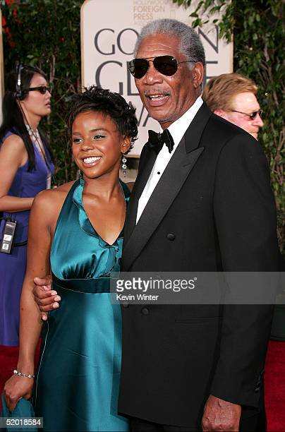 Actor Morgan Freeman and step granddaughter E'Dena Hines arrive to the 62nd Annual Golden Globe Awards at the Beverly Hilton Hotel January 16, 2005...
